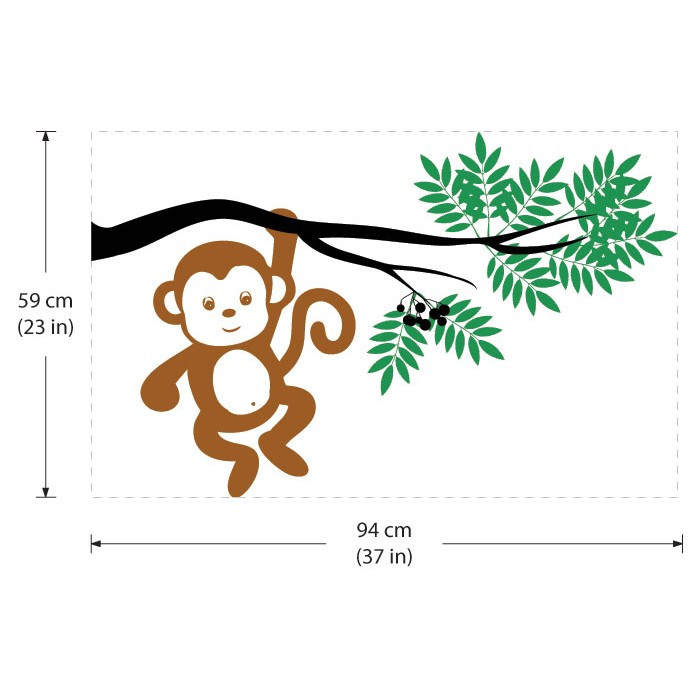 1949816fda982 ... Monkey Hanging From a Tree Branch Vinyl Wall Art Decal