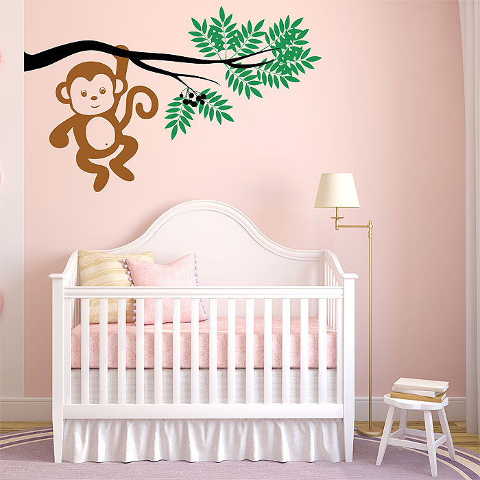 60383259f1a55 Monkey Hanging From a Tree Branch Vinyl Wall Art Decal