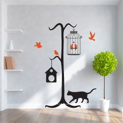 Cat With Birds Vinyl Wall Art Decal (WD-0186)