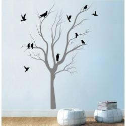 สติกเกอร์ติดผนัง Tree With Birds  Wall Tattoo (WD-0192)