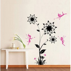 Flower with Fairies Vinyl Wall Art Decal (WD-0193)