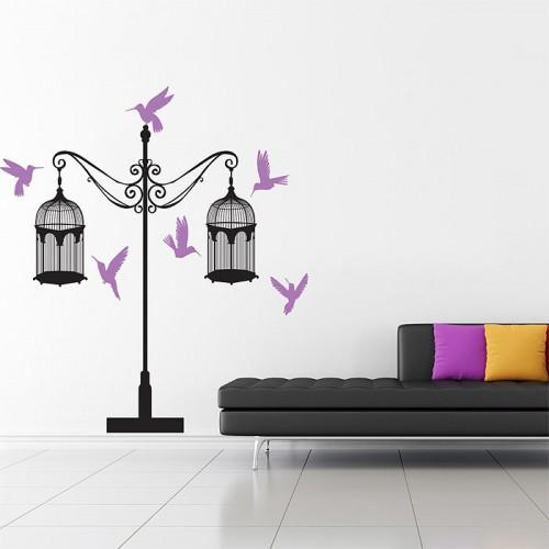 สติกเกอร์ติดผนัง Birdcages with Birds Wall Art