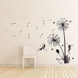สติกเกอร์ติดผนัง ภาพ Dandelions Floral with fairies Wall Art (WD-0199)