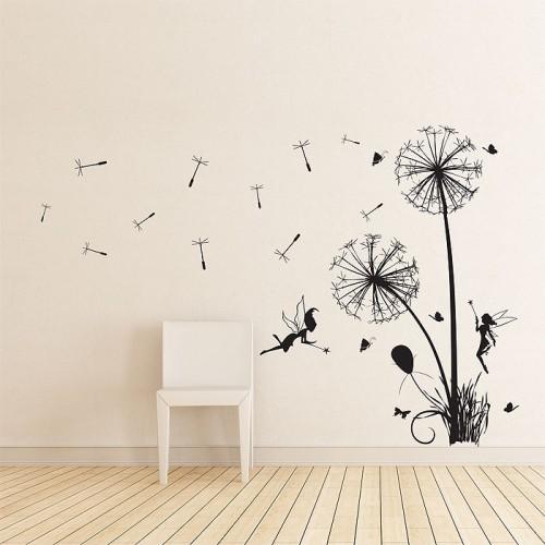 สติกเกอร์ติดผนัง ภาพ Dandelions Floral with fairies Wall Art
