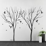 สติกเกอร์ติดผนัง Trees Falling Leaf with Birds Wall Tattoo