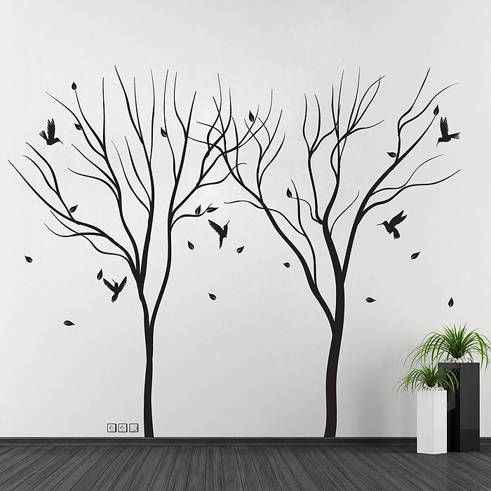 sc 1 st  Art2Click & Trees Falling Leaf with Birds Vinyl Wall Art Decal