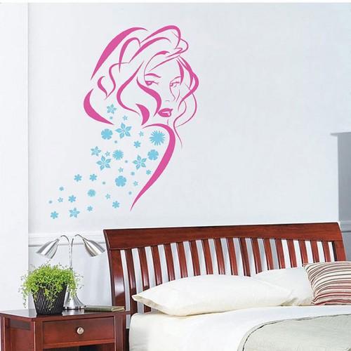 สติกเกอร์ติดผนัง Sexy Girl with Flower Wall Sticker