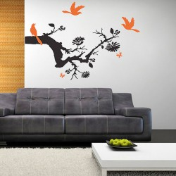 Tree Branch with Birds Vinyl Wall Art Decal (WD-0215)