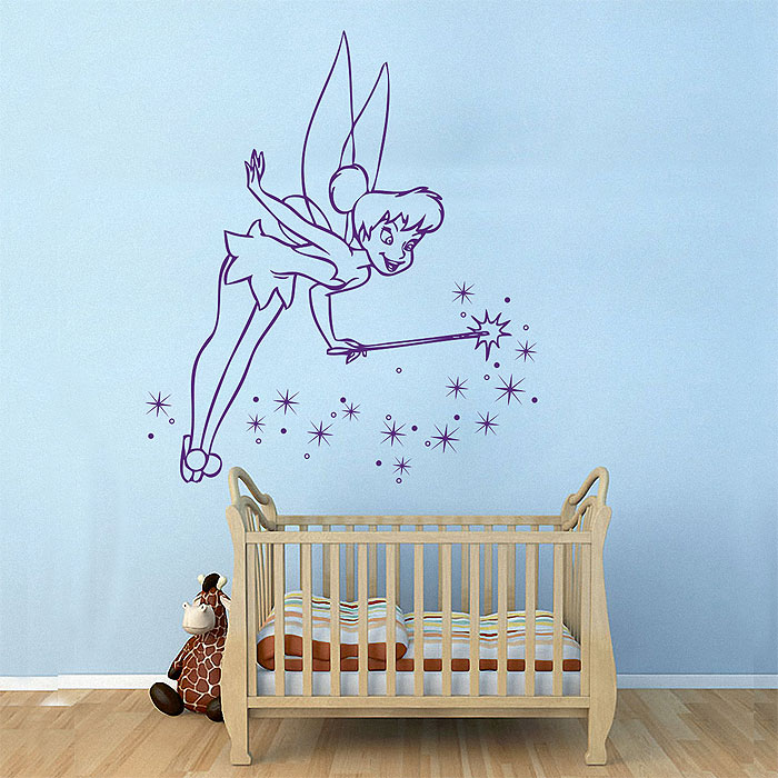 tinker bell vinyl wall art decal choose size tinkerbell decal removable wall sticker art