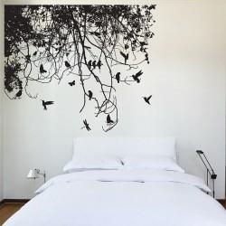 สติกเกอร์ติดผนังTree Branch with Birds Wall Decal (WD-0223)