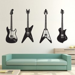 4 Guitare Wandaufkleber Wandtattoo (WD-0225)
