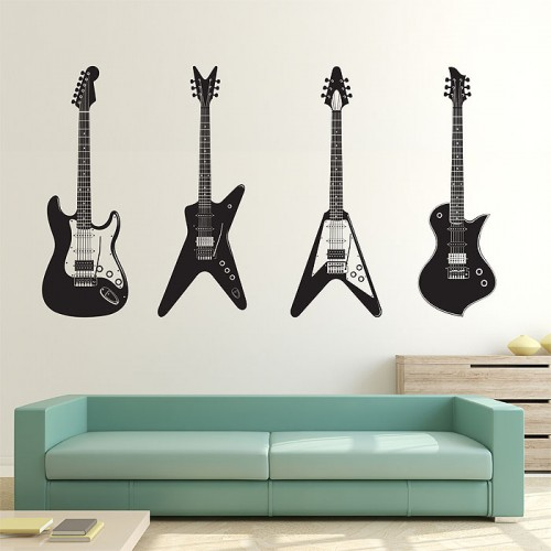 สติกเกอร์ติดผนัง ภาพกีต้าร์ Four Guitars Wall Art