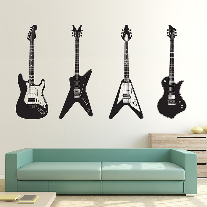 Four Guitars Vinyl Wall Art Decal