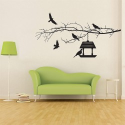 สติกเกอร์ติดผนัง Branch with Birds Wall Sticker (WD-0236)