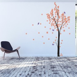 Tree Blossom with Butterfly Vinyl Wall Art Decal (WD-0237)