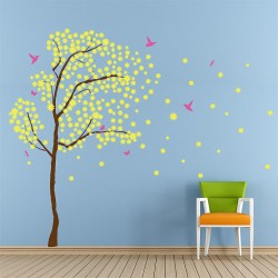 Tree Blossom with Birds Vinyl Wall Art Decal (WD-0238)