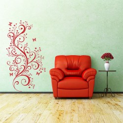Swirl Branch with Butterfly Vinyl Wall Art Decal (WD-0242)