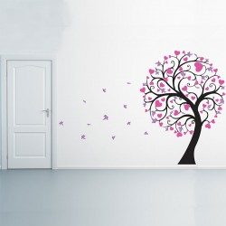 Blossom Large Tree with Hearts Vinyl Wall Art Decal (WD-0243)
