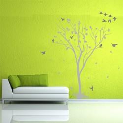 สติกเกอร์ติดผนัง Tree With Birds Vinyl Wall Sticker (WD-0246)