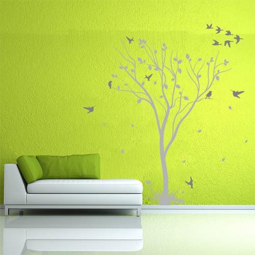 สติกเกอร์ติดผนัง Tree With Birds Vinyl Wall Sticker