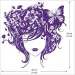 สติกเกอร์ติดผนัง Retro Girl with Butterfly Wall Sticker