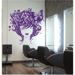 Retro Girl with Butterfly Vinyl Wall Art Decal (WD-0260)