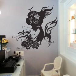 Girl with Flower Vinyl Wall Art Decal (WD-0261)
