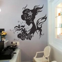 สติกเกอร์ติดผนัง Girl with Flower Wall Sticker (WD-0261)