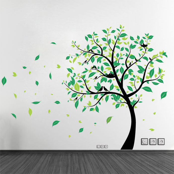 Large Tree With Birds Vinyl Wall Art Decal Part 88