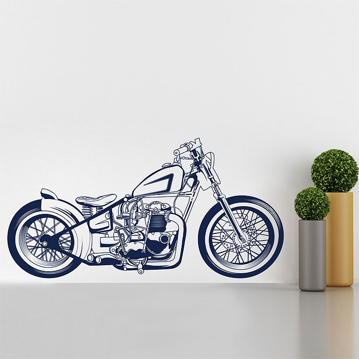 motorcycle chopper 3 vinyl wall art decal. Black Bedroom Furniture Sets. Home Design Ideas