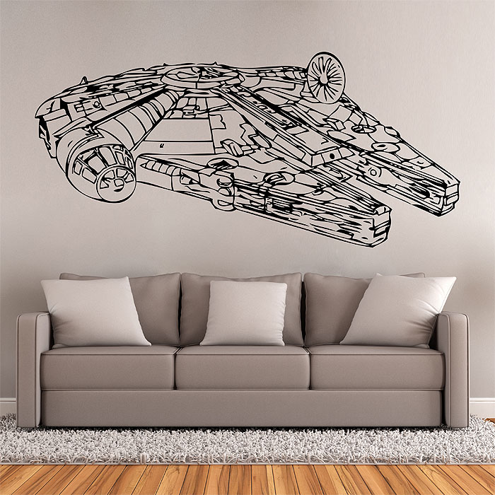 star wars millennium falcon v1 wandaufkleber wandtattoo. Black Bedroom Furniture Sets. Home Design Ideas