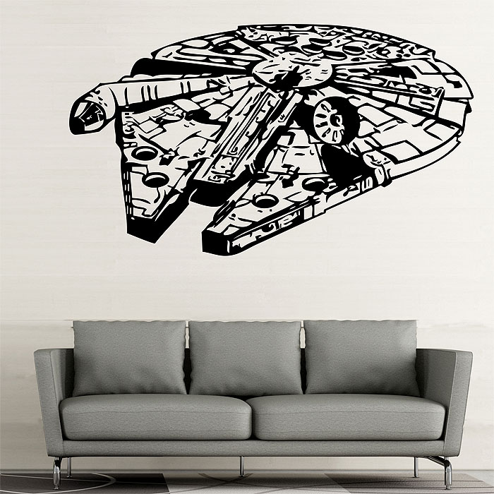 star wars millennium falcon v2 vinyl wall art decal. Black Bedroom Furniture Sets. Home Design Ideas