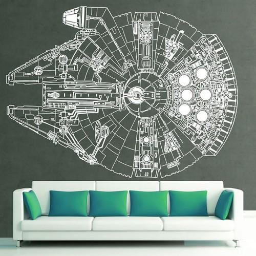 Star Wars Millennium Falcon Wandaufkleber Wandtattoo