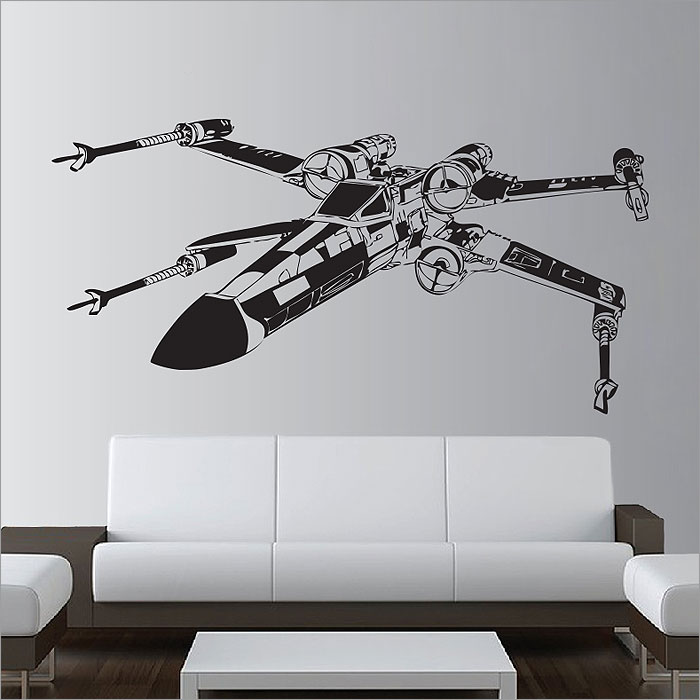star wars x wing fighter vinyl wall art decal. Black Bedroom Furniture Sets. Home Design Ideas
