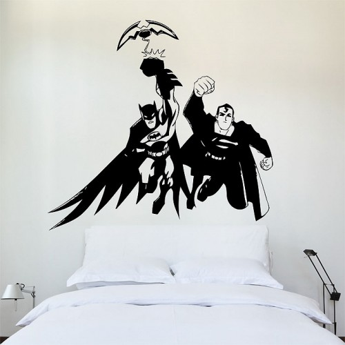 batman superman wandaufkleber wandtattoo. Black Bedroom Furniture Sets. Home Design Ideas