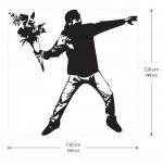 สติกเกอร์ติดผนัง Banksy Flower Thrower Graffiti Wall Sticker