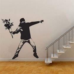 สติกเกอร์ติดผนัง Banksy Flower Thrower  Graffiti Wall Sticker (WD-0317)