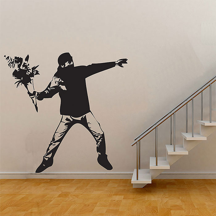 Banksy Flower Thrower Graffiti Vinyl Wall Art Decal