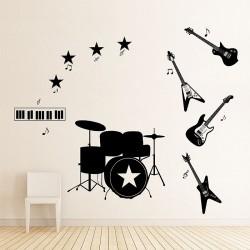 สติกเกอร์ติดผนัง Music instruments four guitars  Wall Sticker (WD-0327)