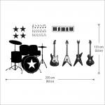 สติกเกอร์ติดผนัง Music instruments four guitars Wall Sticker