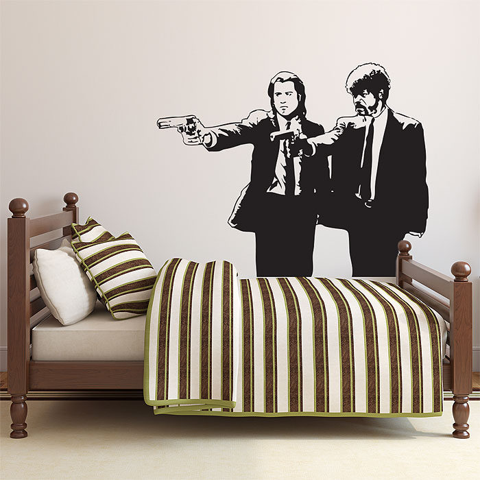Wall Art Decal and vincent duo guns - pulp fiction stencil vinyl wall art decal