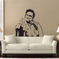 Johnny Cash 's Middle FingerVinyl Wall Art Decal (WD-0367)