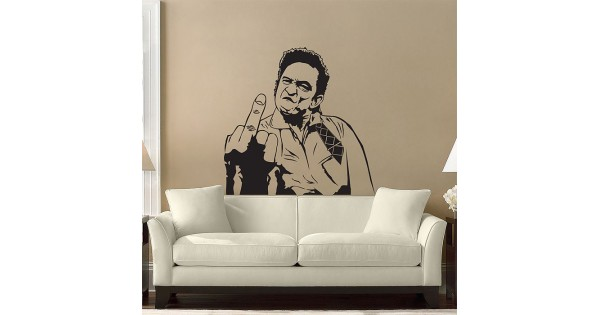Johnny Cash Sticker Middle Finger Sticker