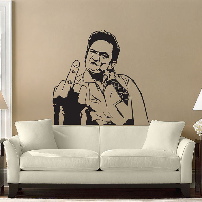 Johnny Cash \'s Middle Finger Vinyl Wall Art Decal