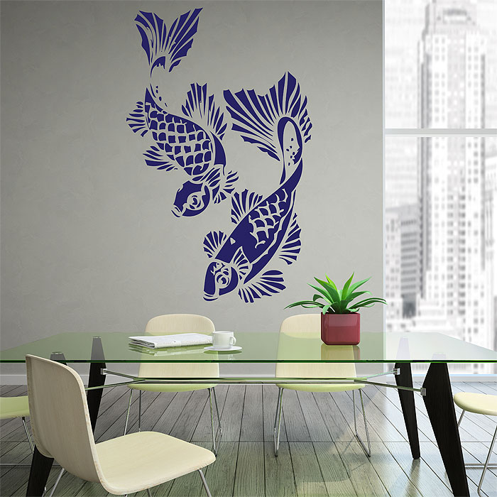 Angle the koi fish vinyl wall art decal for Koi carp wall art