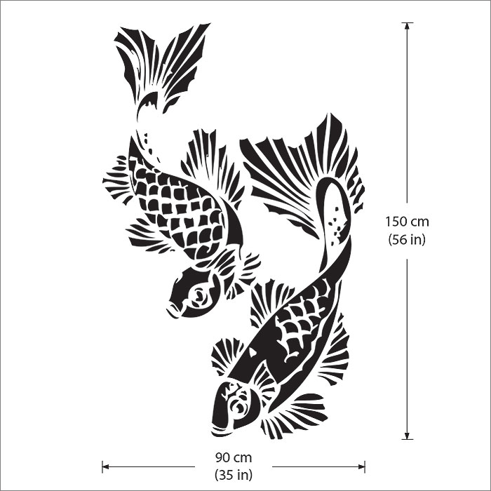 Angle the koi fish vinyl wall art decal for Koi fish wall stickers