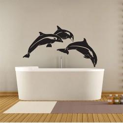 สติกเกอร์ติดผนัง ภาพโลมา Dolphin Fish Wall Sticker (WD-0373)