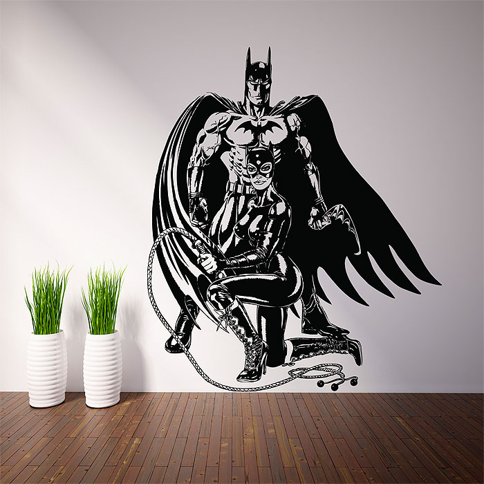 28 catwoman amp batman wall mural shop batman wall for Batman wall mural decal