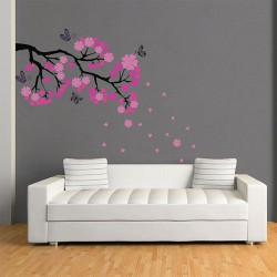 Cherry Pink Blossom Branches Vinyl Wall Art Decal (WD-0388)