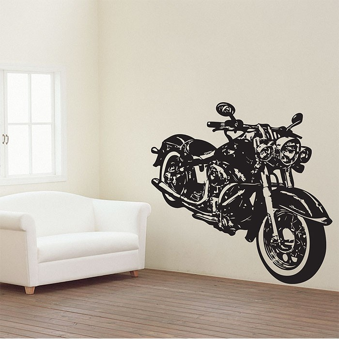 Beau Motorcycle Vector Graphic Vinyl Wall Art Decal